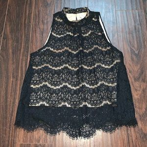 High neck lace tank